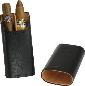 adorini Zigarrenetui für 2-3 Zigarren längenverstellbar Leder schwarz