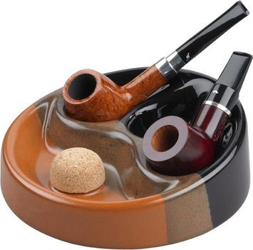 Ceramic Pipe Ashtray Black/Brown